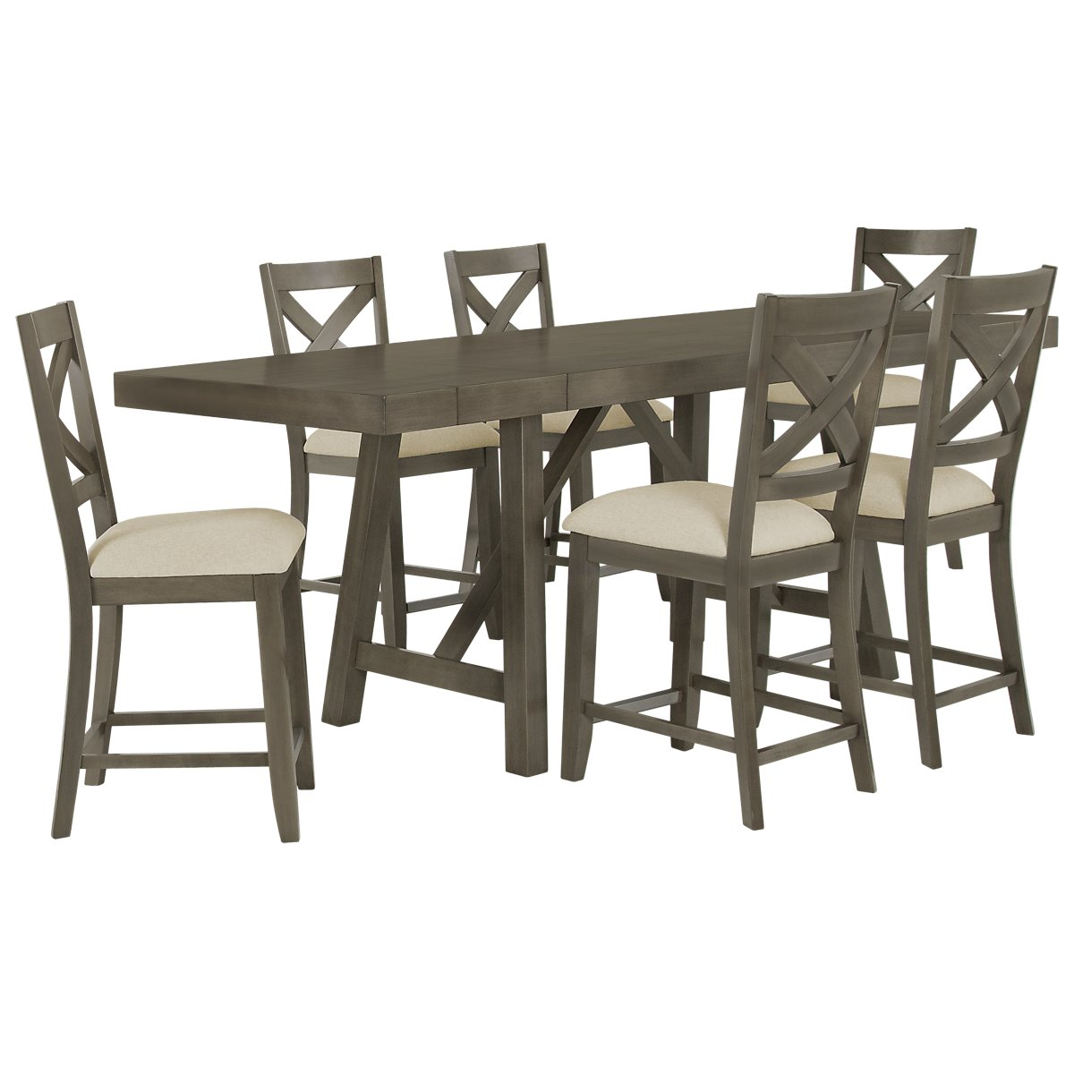 Omaha Gray High Table & 4 Wood Barstools