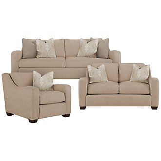 Lorna3 Beige Fabric Small Living Room
