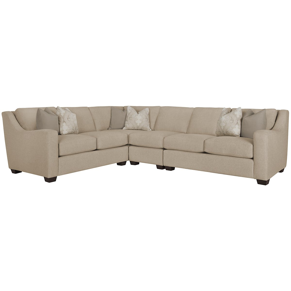Lorna3 Beige Fabric Large Two-Arm Sectional