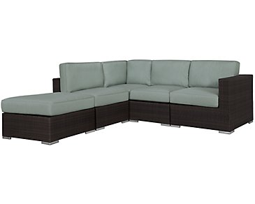 Fina Teal 5-Piece Modular Sectional