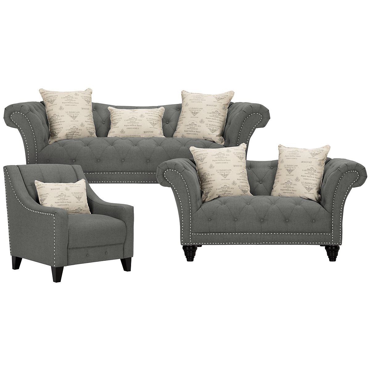 Hutton Dark Gray Fabric Living Room