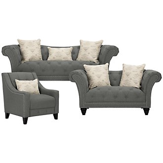 Hutton Dk Gray Fabric Living Room