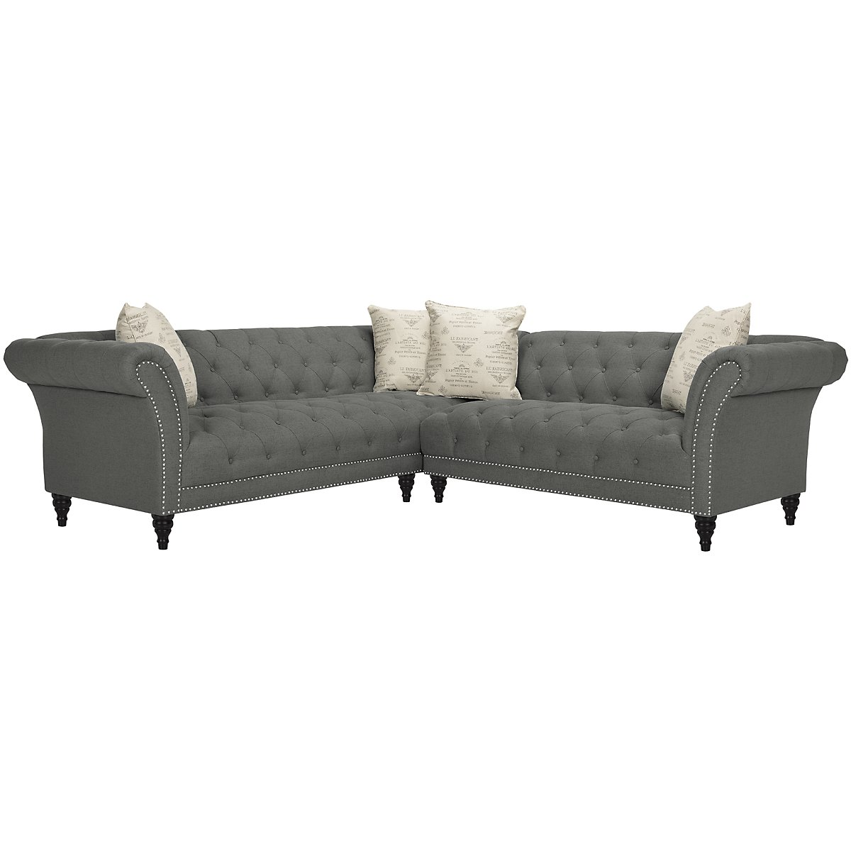 Hutton Dk Gray Fabric Left Arm Sectional