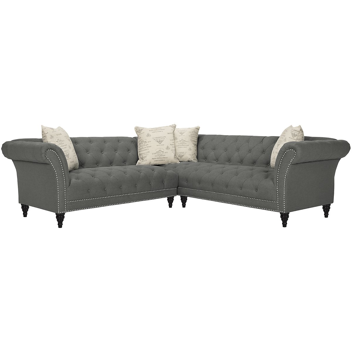 Hutton Dk Gray Fabric Right Arm Sectional
