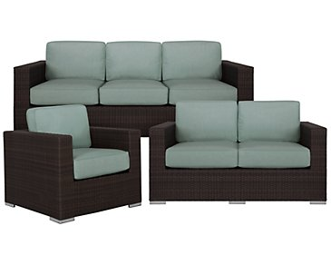 Fina Teal Outdoor Living Room Set