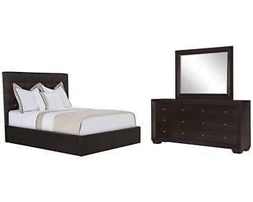 Lynx Dark Brown Bonded Leather Platform Bedroom