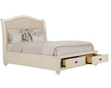 Coventry White Upholstered Platform Storage Bed