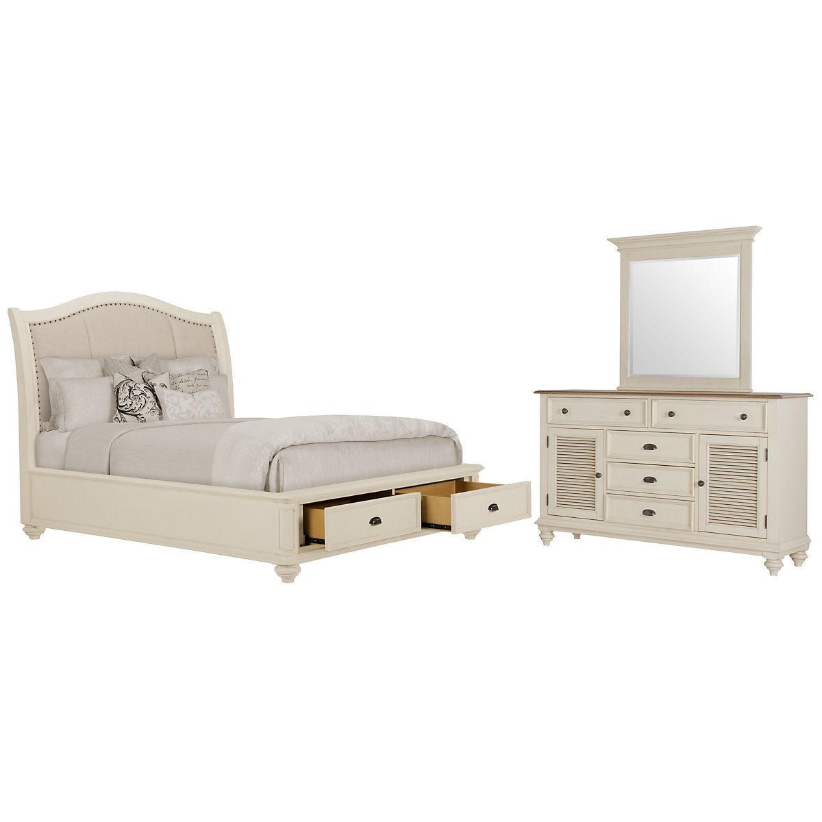 Coventry White Upholstered Platform Storage Bedroom