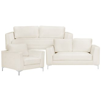 Kacey2 White Microfiber Living Room