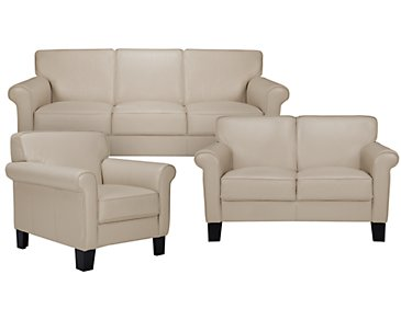 Kaila Beige Leather Living Room