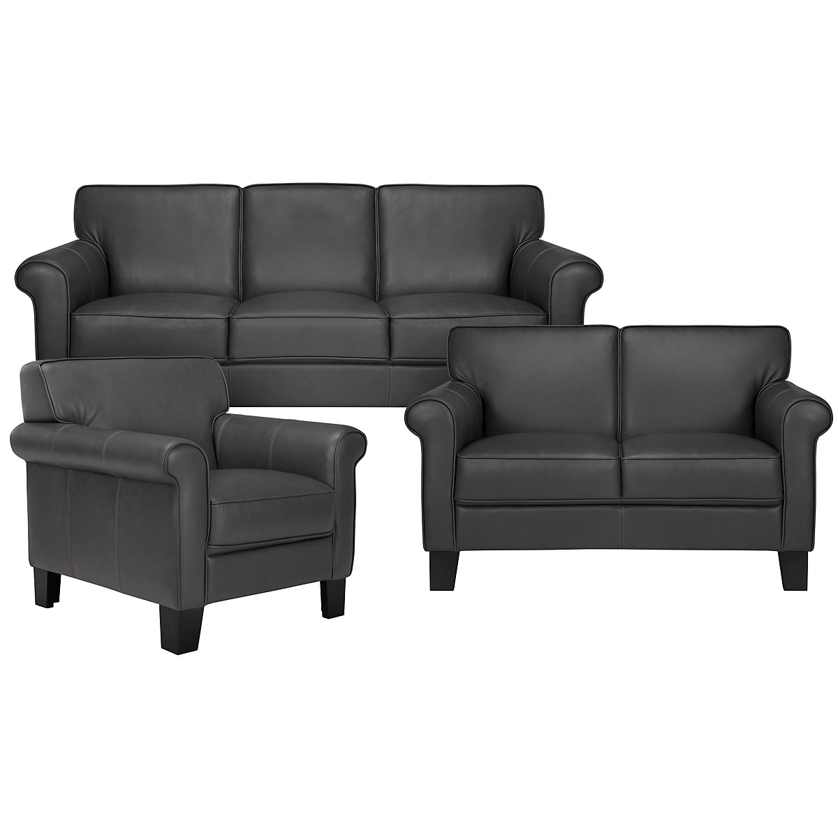 Kaila Dark Gray Leather Living Room