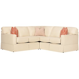 Product Image: Poppy Orange Fabric Small Two-Arm Sectional
