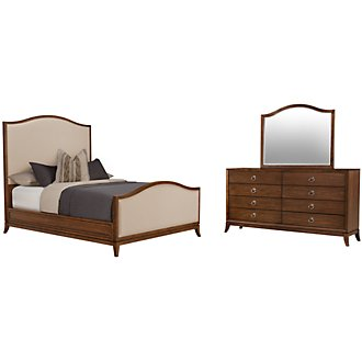 Savoy Mid Tone Upholstered Panel Bedroom