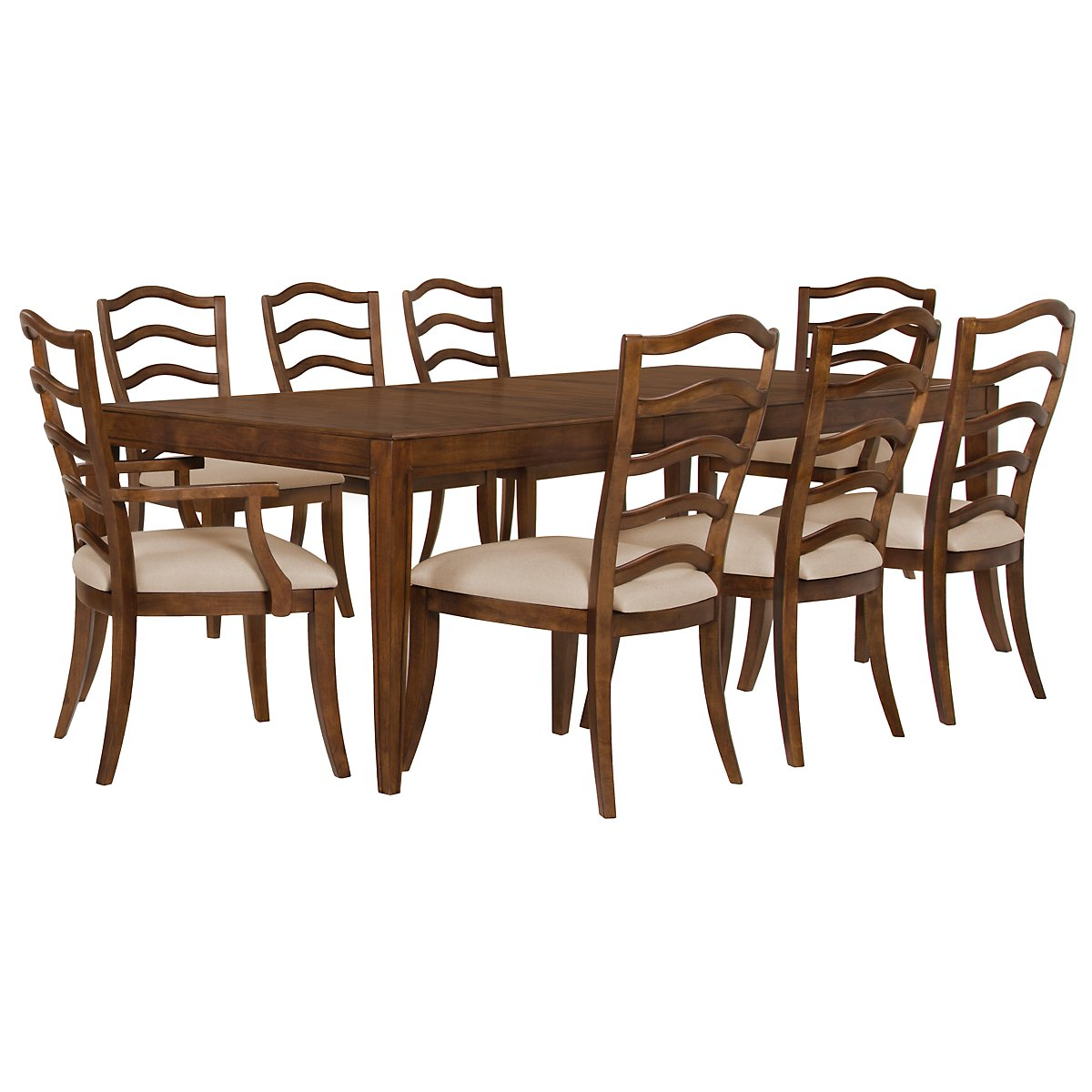 Savoy Mid Tone Rectangular Table & 4 Wood Chairs