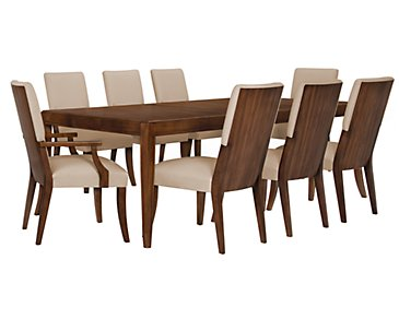 Savoy Mid Tone Rectangular Table & 4 Upholstered Chairs