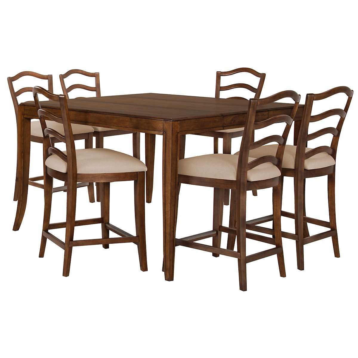Savoy Mid Tone High Table & 4 Wood Barstools