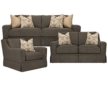 Hallie Dark Gray Fabric Living Room