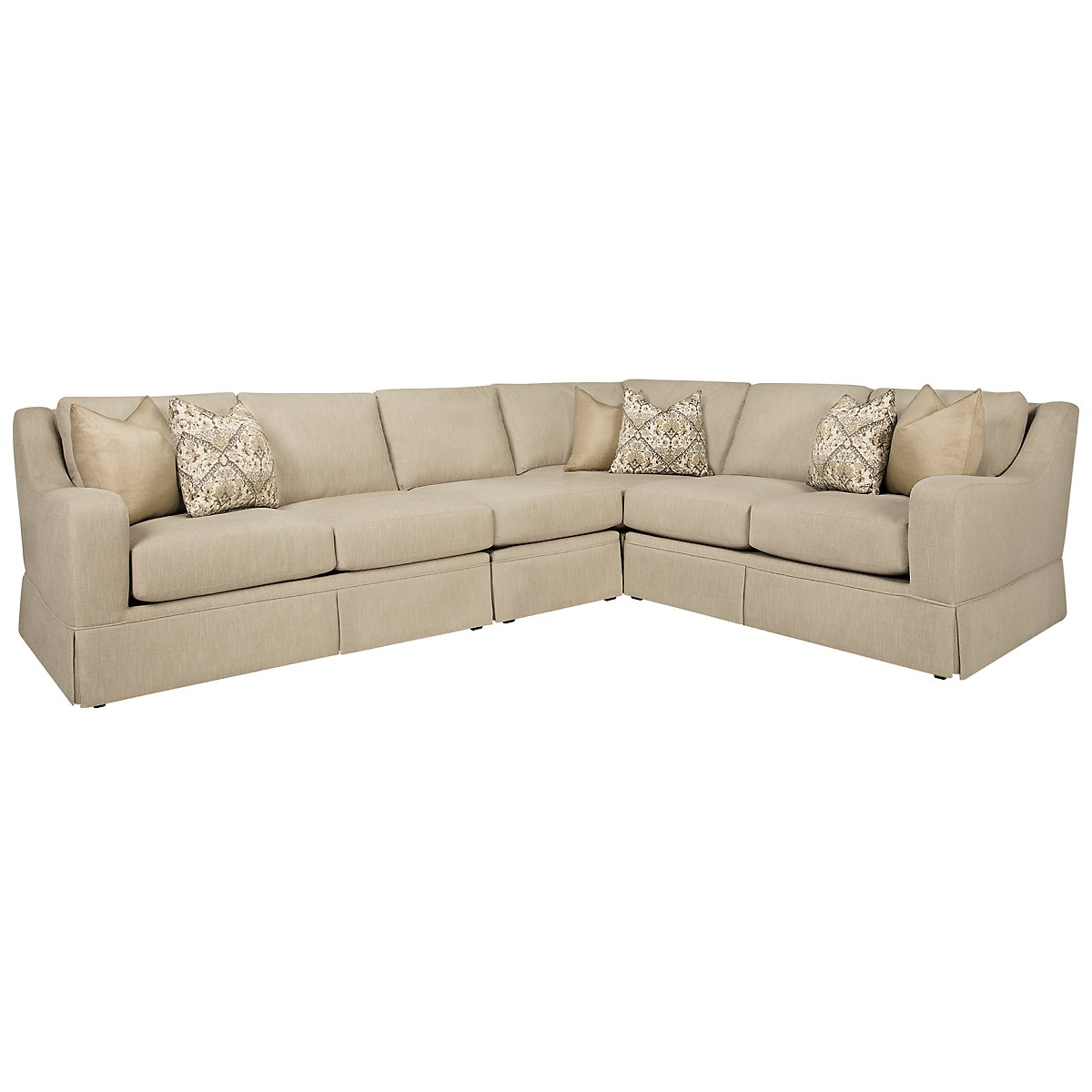 Hallie Beige Fabric Large Two-Arm Sectional