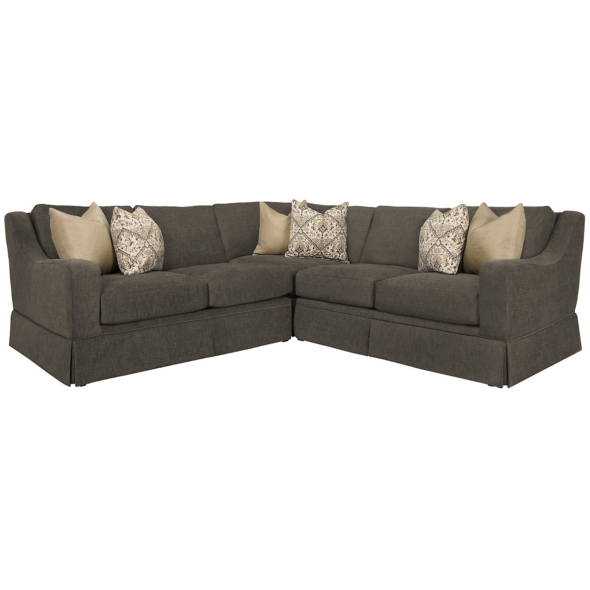 Hallie Dk Gray Fabric Small Two-Arm Sectional