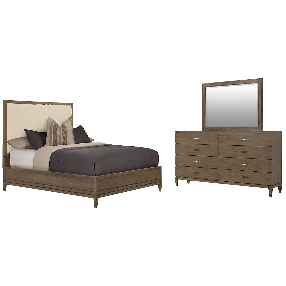 Preston Gray Upholstered Platform Bedroom