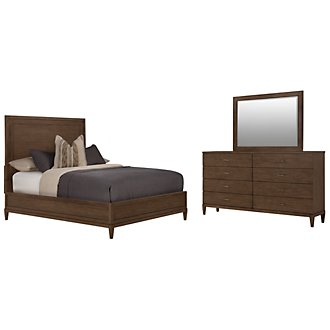 Preston Mid Tone Wood Platform Bedroom