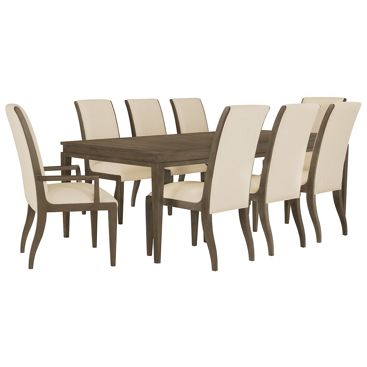 Preston Gray Rectangular Table & 4 Sloped Chairs