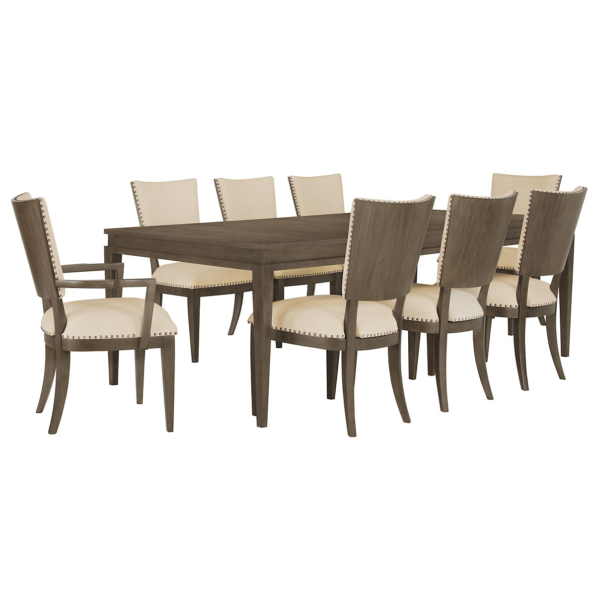 Preston Gray Rectangular Table & 4 Upholstered Chairs