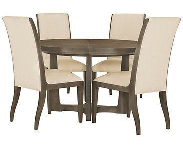 Preston Gray Round Table & 4 Sloped Chairs