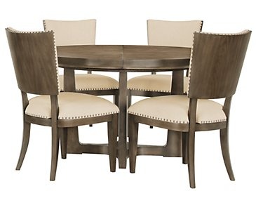 Preston Gray Round Table & 4 Upholstered Chairs