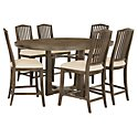 Preston Gray Round High Table & 4 Wood Barstools