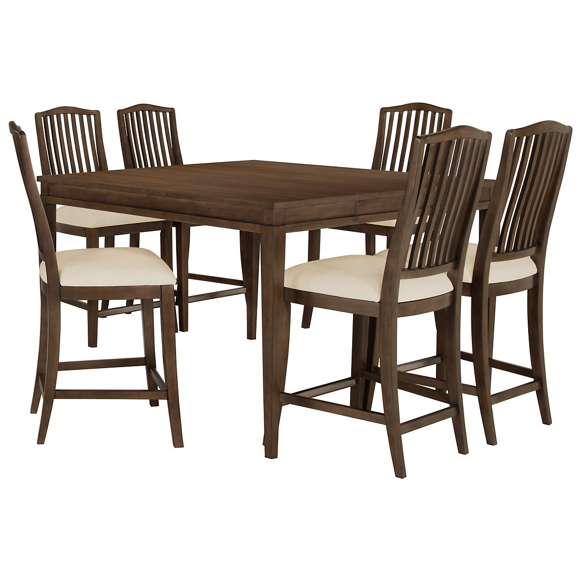 Preston Mid Tone High Table & 4 Wood Barstools