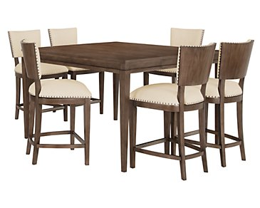 Preston Mid Tone High Table & 4 Upholstered Barstools