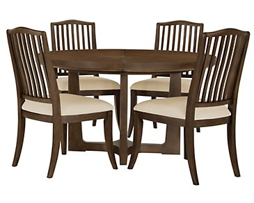 Preston Mid Tone Round Table & 4 Wood Chairs