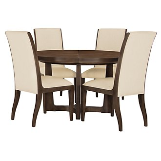 Preston Mid Tone Round Table & 4 Sloped Chairs