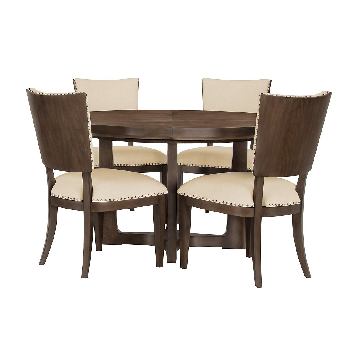 Preston Mid Tone Round Table & 4 Upholstered Chairs