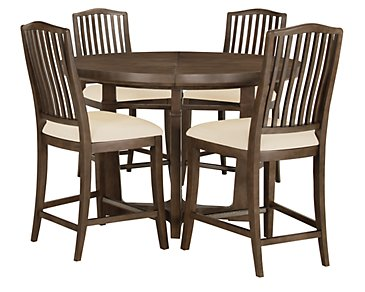 Preston Mid Tone Round High Table & 4 Wood Barstools