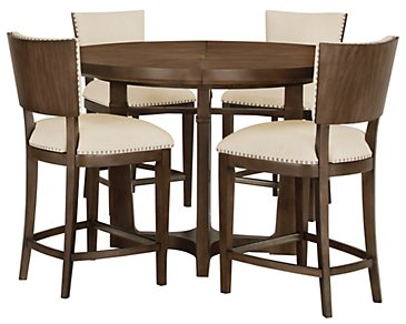 Preston Mid Tone Round High Table & 4 Upholstered Barstools