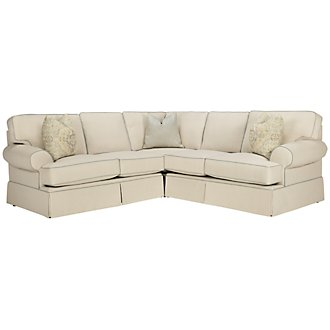 Product Image: Malory Lt Beige Fabric Small Two-Arm Sectional