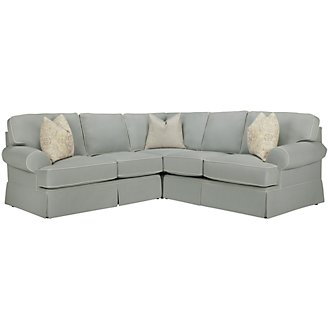 Product Image: Malory Lt Blue Fabric Small Two-Arm Sectional