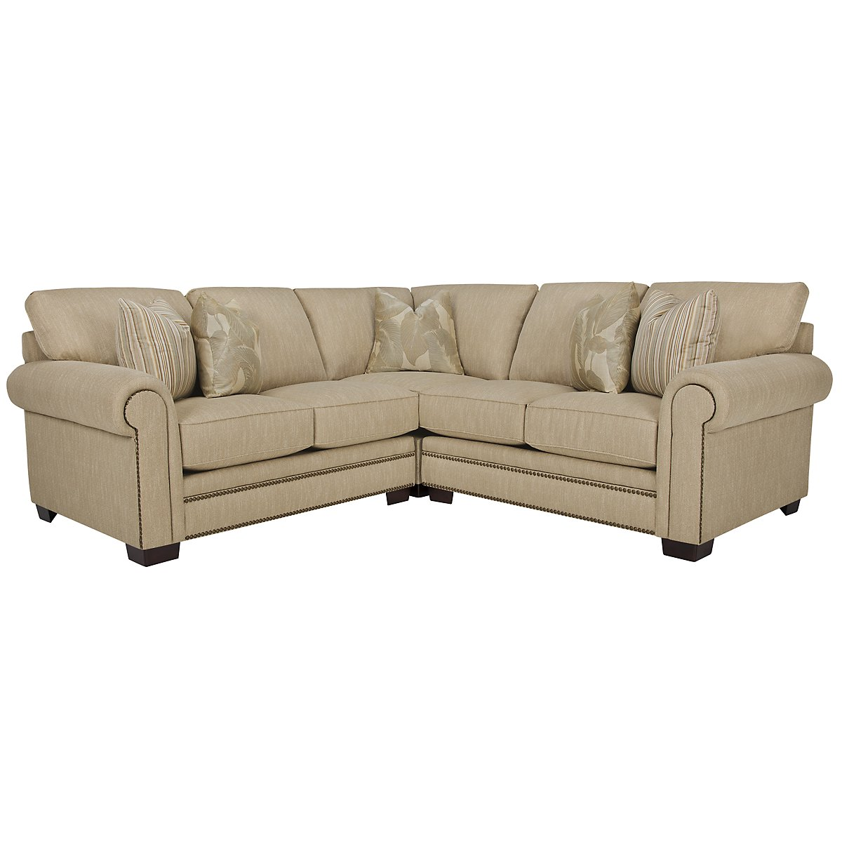 Erin Lt Brown Fabric Small Two-Arm Sectional