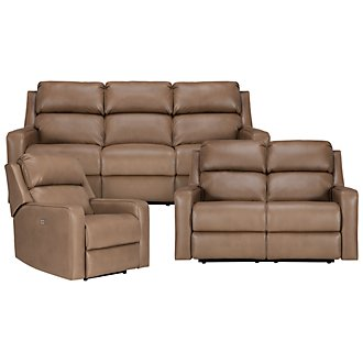 Rocco Dk Taupe Microfiber Power Reclining Living Room