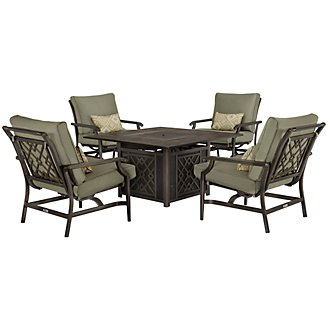 Harbor2 Dark Tone Rocking Outdoor Fire Pit Chat Set