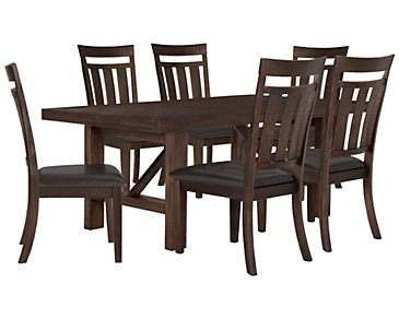 Kona Grove Dark Tone Rectangular Table & 4 Wood Chairs