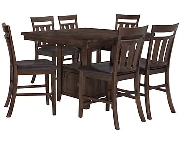 Kona Grove Dark Tone High Table & 4 Wood Barstools