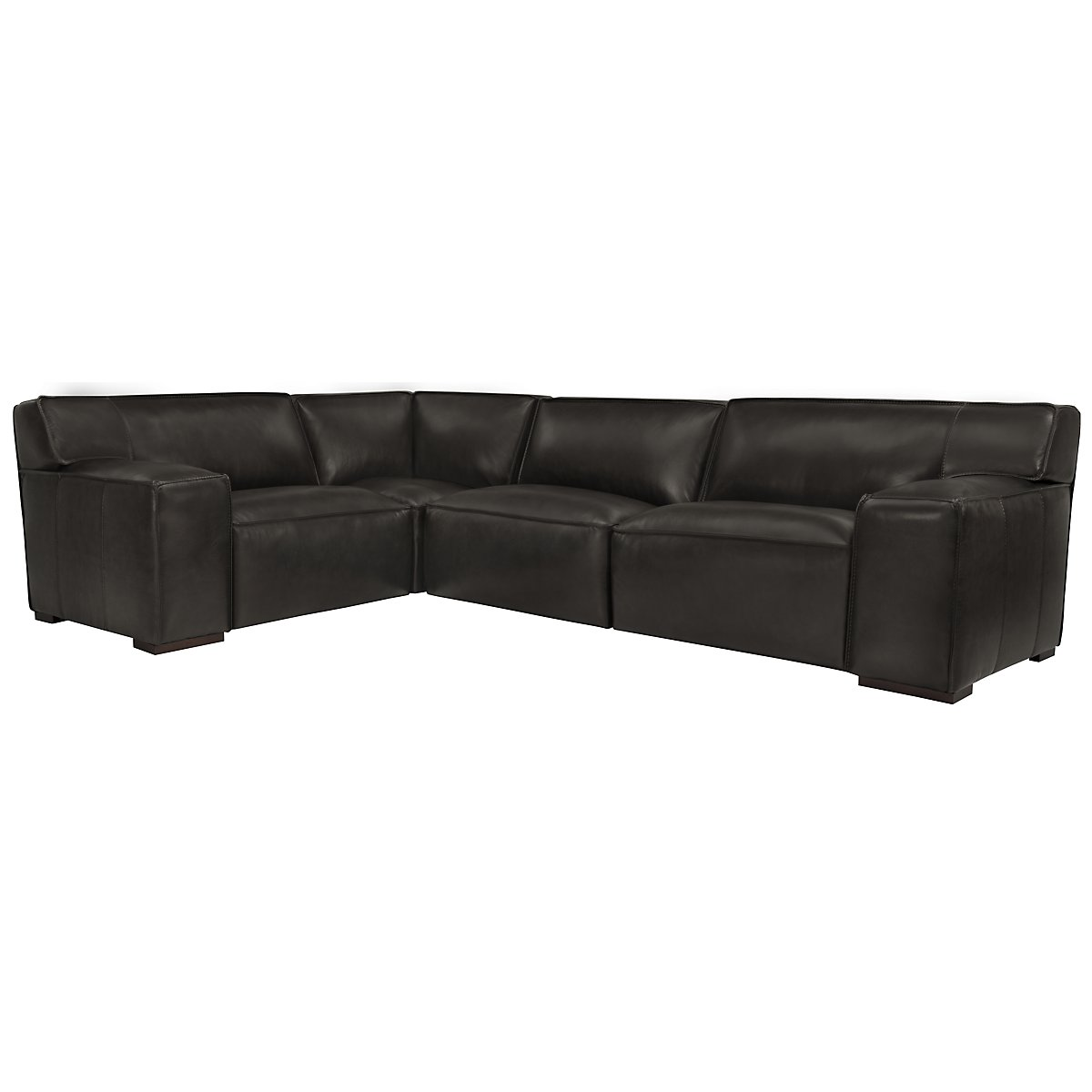 Asher Dk Gray Leather & Vinyl Small Two-Arm Sectional