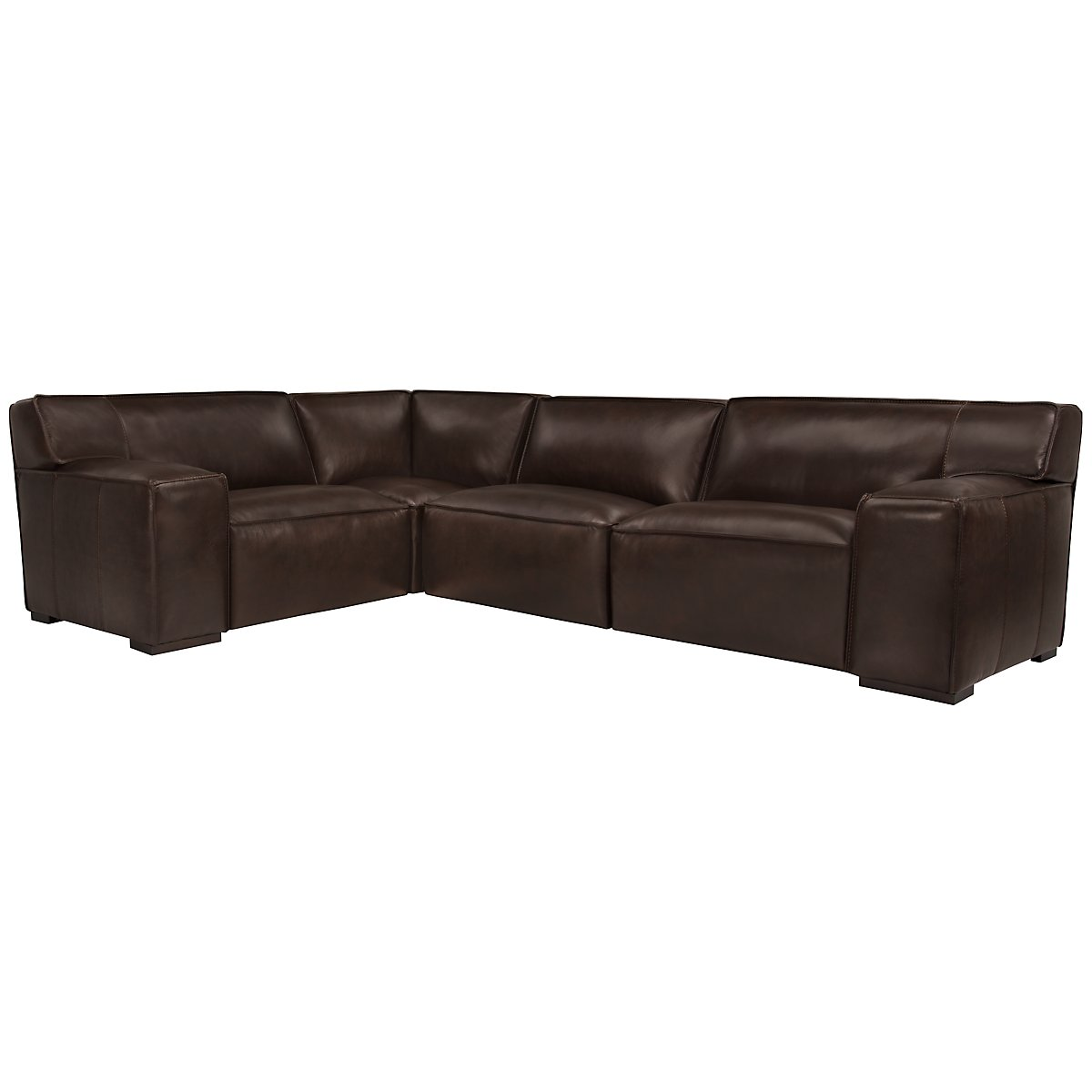 Asher Dark Brown Leather & Vinyl Small Two-Arm Sectional