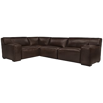 Asher Dk Brown Leather & Vinyl Small Two-Arm Sectional