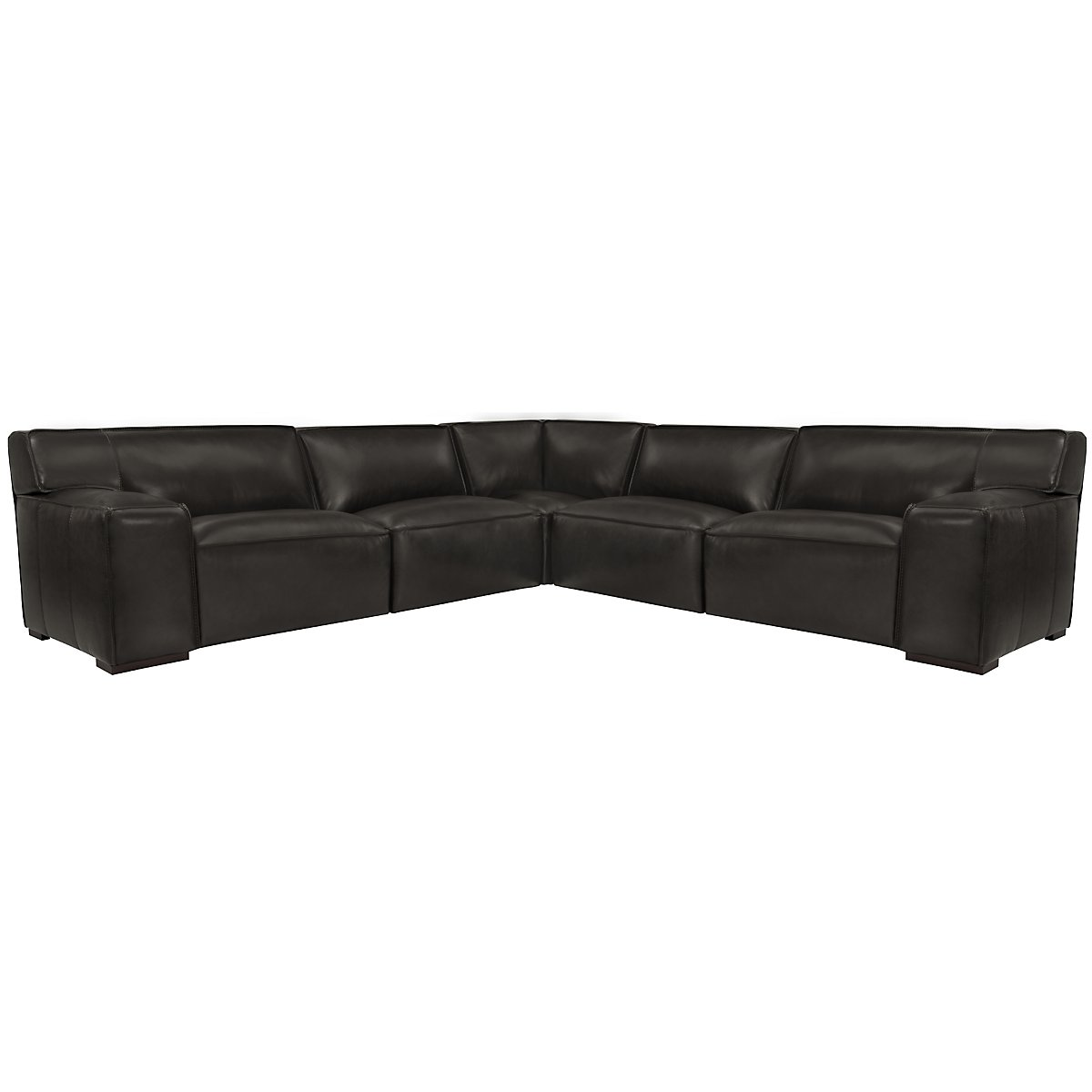 Asher Dk Gray Leather & Vinyl Large Two-Arm Sectional