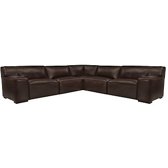 Asher Dk Brown Leather & Vinyl Large Two-Arm Sectional