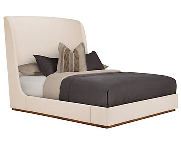 Triss Light Beige Upholstered Platform Bed